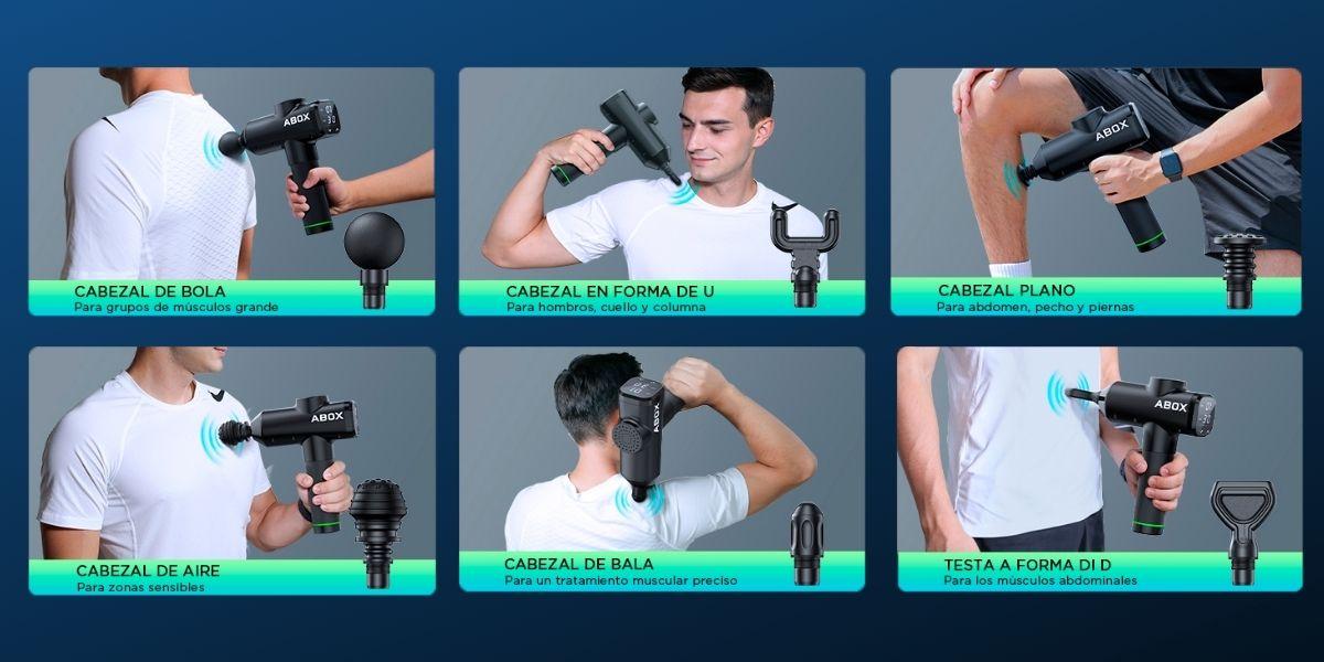 ¿Para qué sirve cada cabezal de la pistola de masaje?